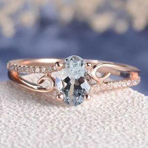Jewelry - Rose Gold Aquamarine Diamond Wedding ring